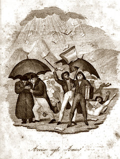 raining books on 1800s crowd