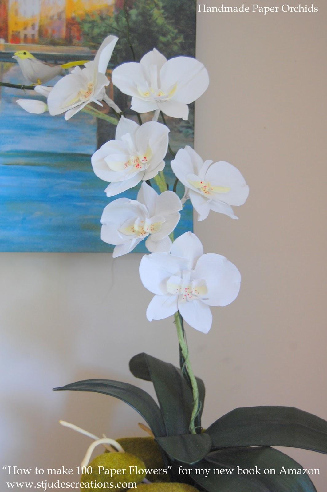 Paper Orchids Arrangements Home Decor Vase Bowl Handmade