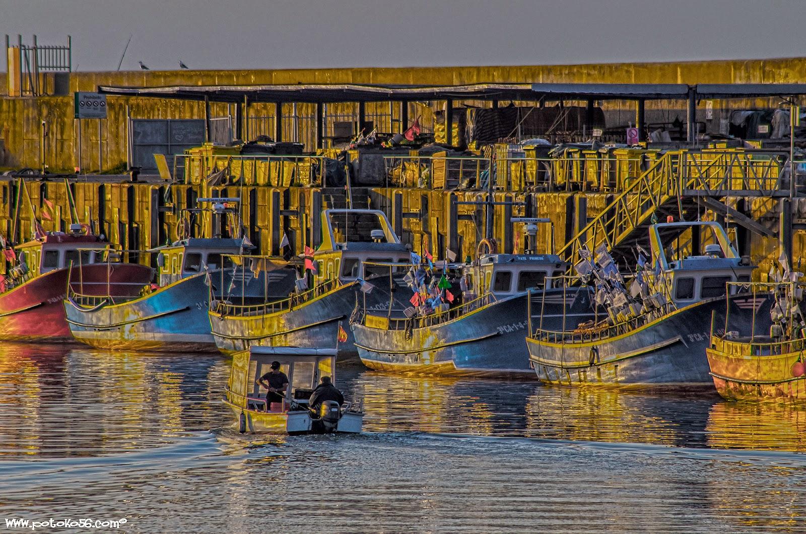 Barcos de pesca en el muelle de Rota