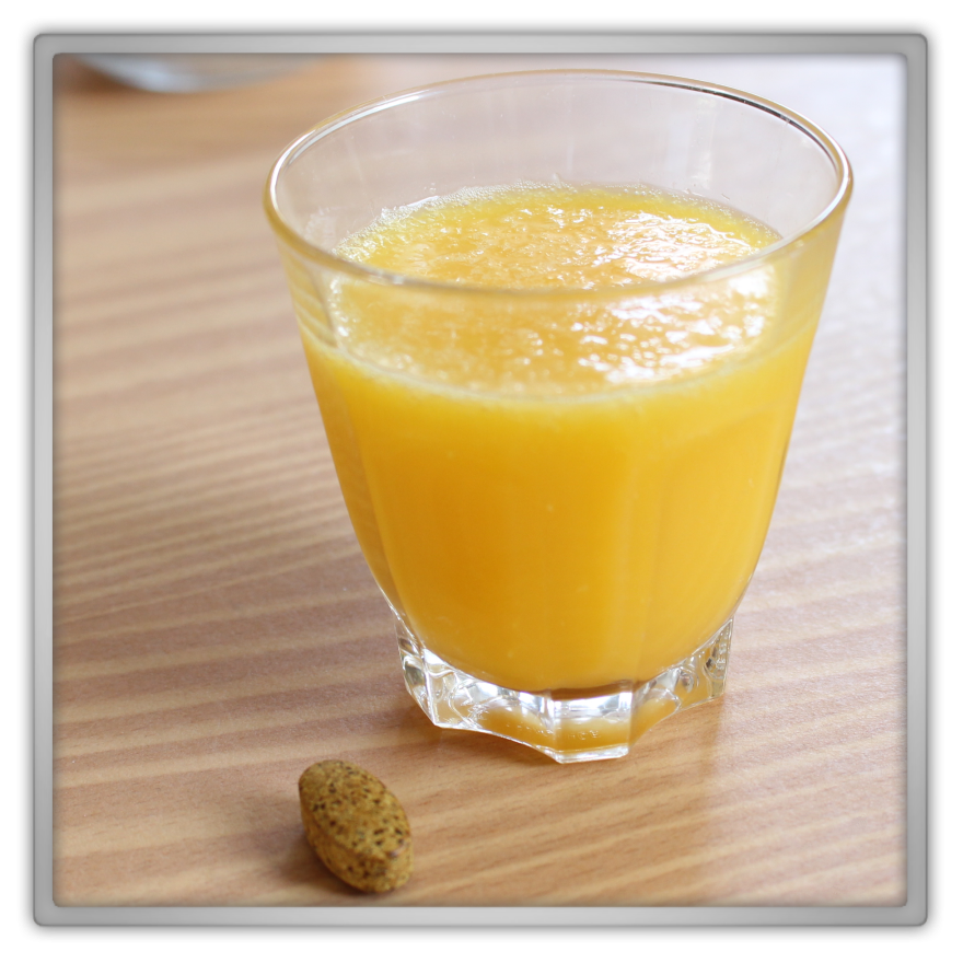 Healthy vitamins orange juice C multi max pill