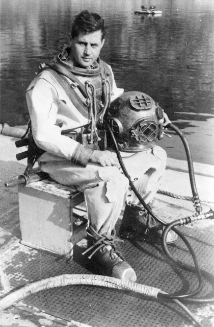 US Navy Mark V Diver In Full Gear During World War II