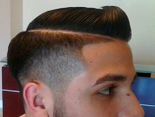 Pompadour comb over fade