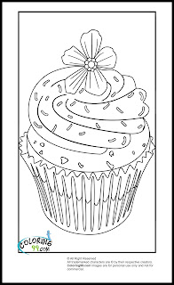 cupcake with flower topper coloring pages