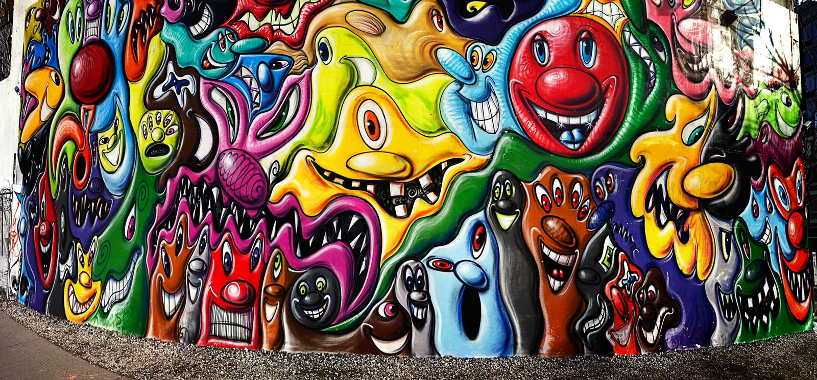 Q studios inc kenny scharf mural on houston bowery nyc for Bowery mural nyc