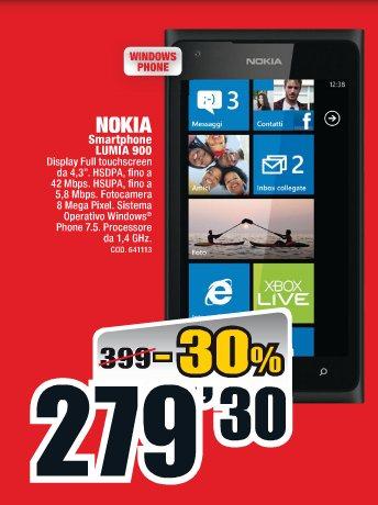 Ottima offerta nell'ultimo volantino mediaworld di fine gennaio 2013 con il miglior prezzo sul Nokia Lumia 900