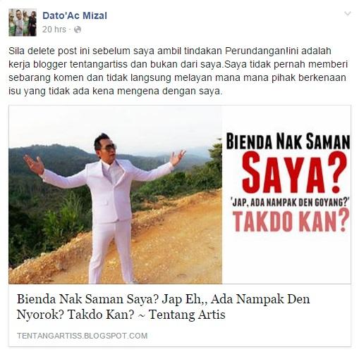 Sila Delete Post Ini Sebelum Saya Ambil Tindakan - Dato Ac Mizal