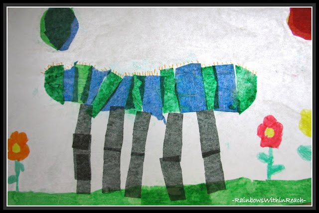 photo of: Tissue Paper Caterpillar, First Grade Art Project for Spring