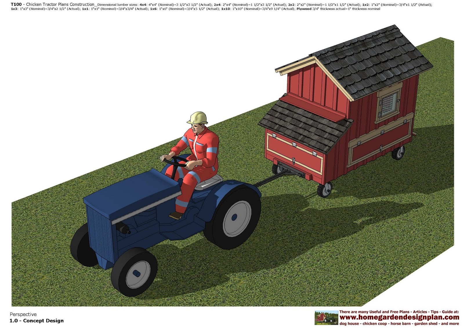 Home garden plans t100 chicken tractor plans chicken for Garden design trailer