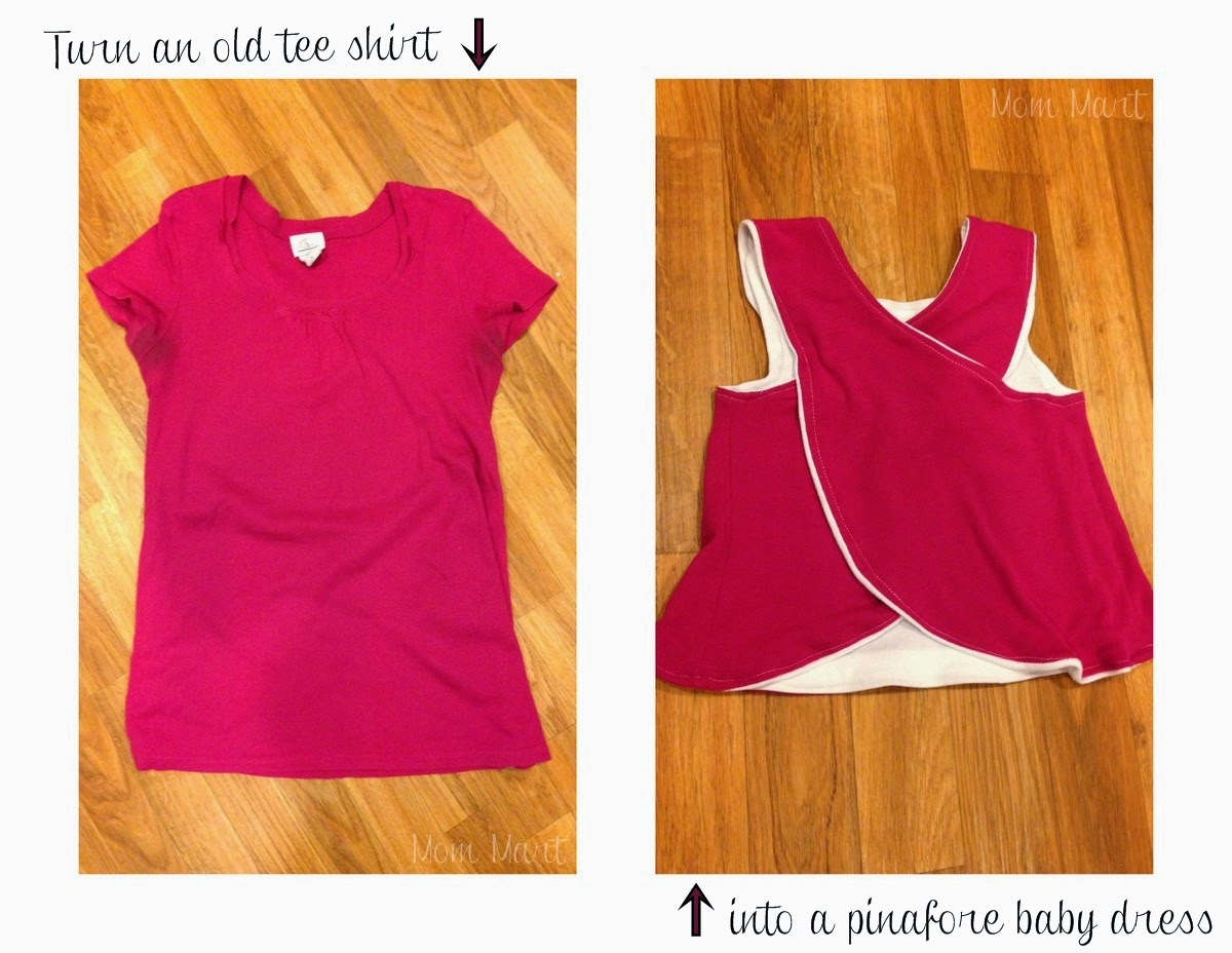 upcycle an old tee shirt into a pinafore baby dress #DIY #Sewing #Baby