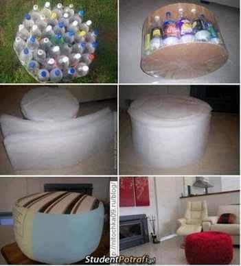 cara membuat Kursi Santai dari Botol Plastik Bekas