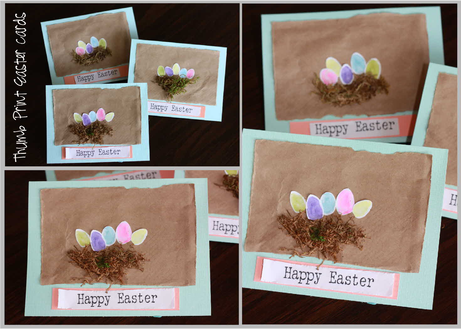 Just sweet and simple thumb print easter card super simple inexpensive and kid friendly i had my toddler dip his thumb in paint and make tons of thumbprints all over a paper m4hsunfo