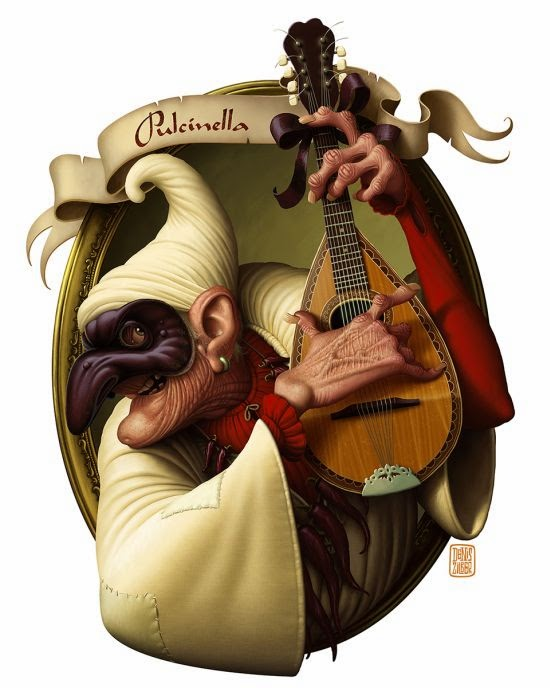 Denis Zilber illustrations funny cartoonish caricatures Pulcinella