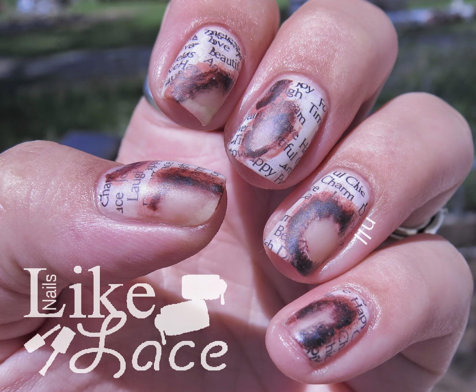 NailsLikeLace: Burnt Newspaper Nails