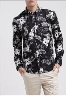 Model baju kemeja pria motif bunga trend fashion masa kini