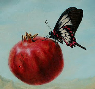 painting of a butterfly on a pomegranate
