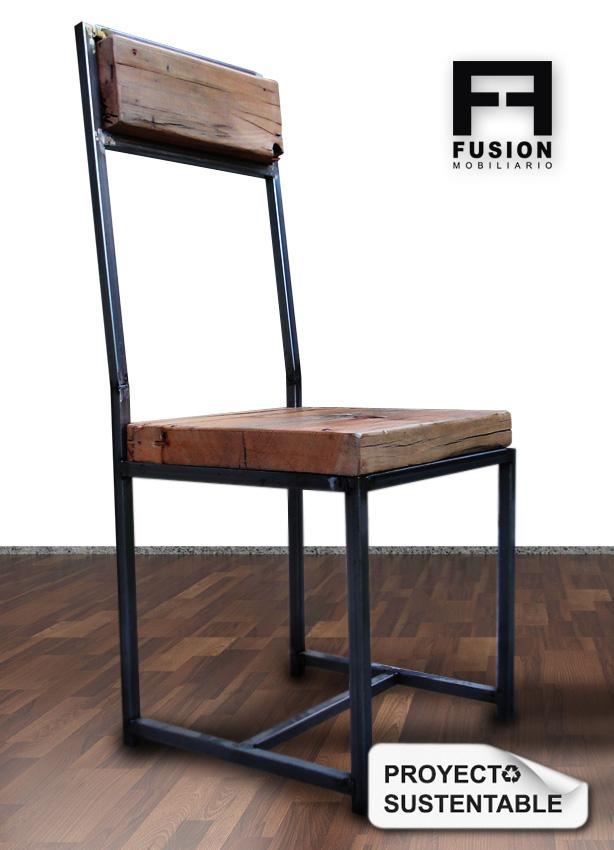 Silla de hierro y madera fusion mobiliario for Sillas de madera para escritorio