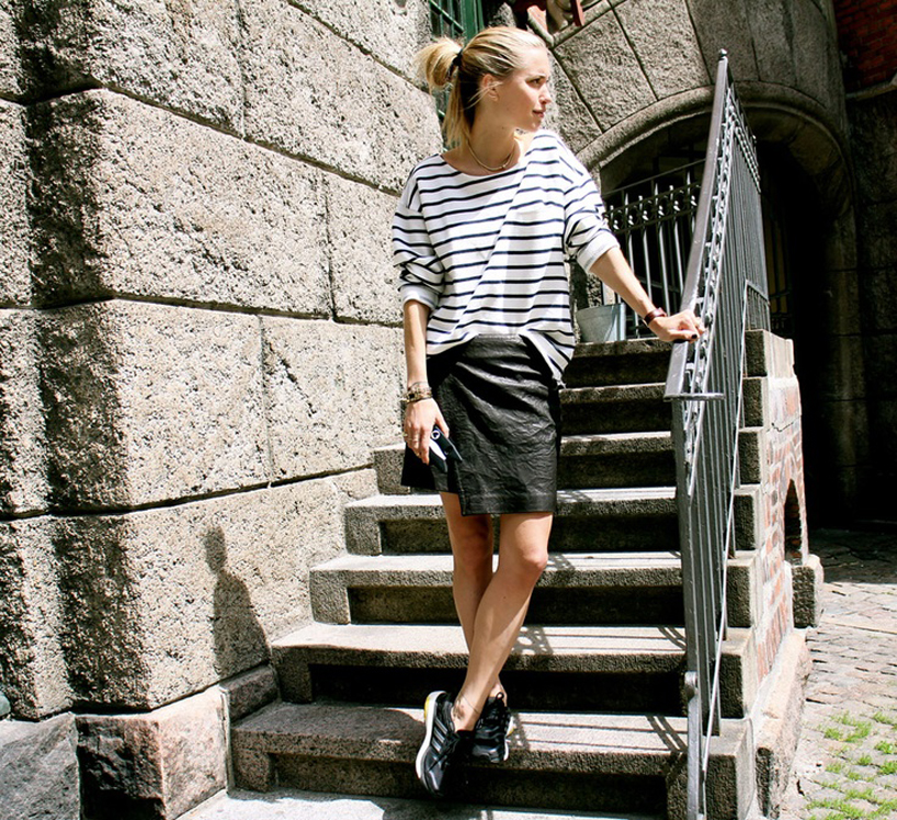 striped tee leather skirt