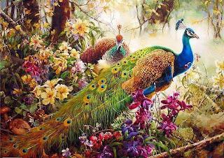 pintura de pavo real