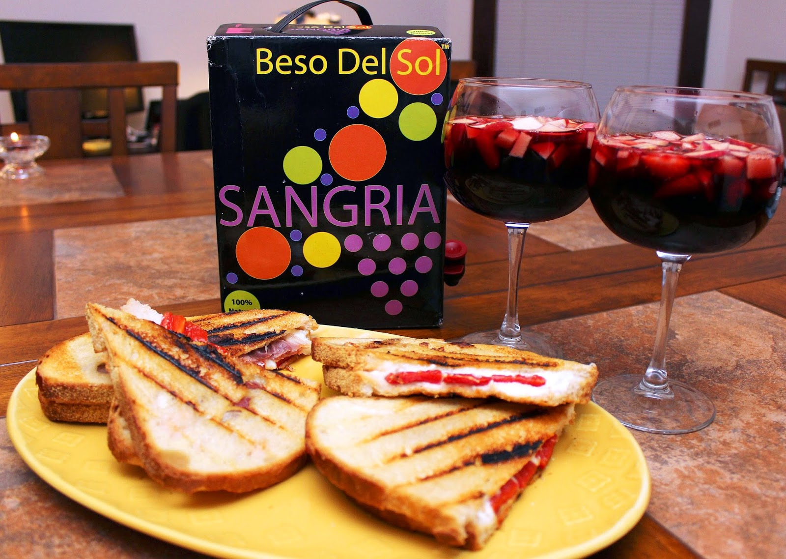 Burrata & Prosciutto Grilled Cheese with Beso Del Sol Sangria ...
