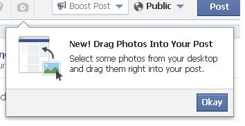 Drag Photos into your Facebook post