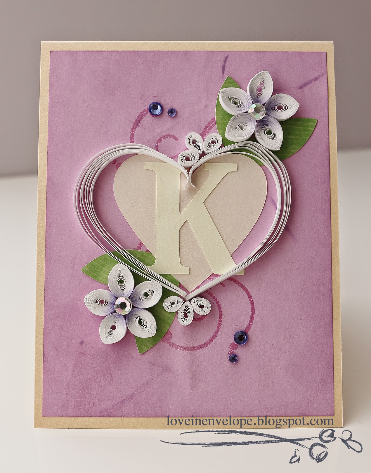 Love in envelope quilled white heart flowers initial k bridal this is a card that i made for soon to be bride karen for her bridal shower earlier this month ive known her since late hscollege days and i cant kristyandbryce Image collections