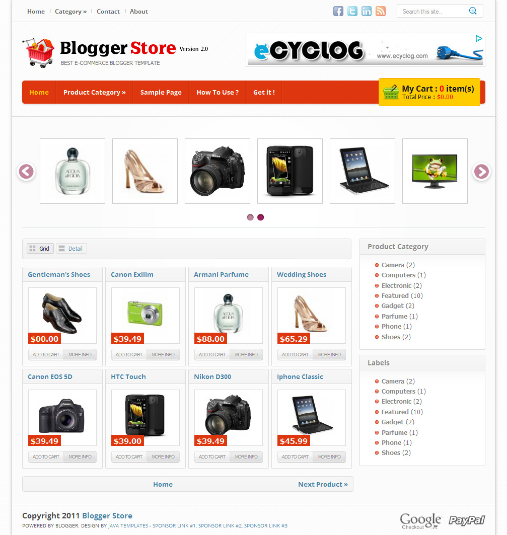 Blogger Store, Shopping Template:Blog For Free Template