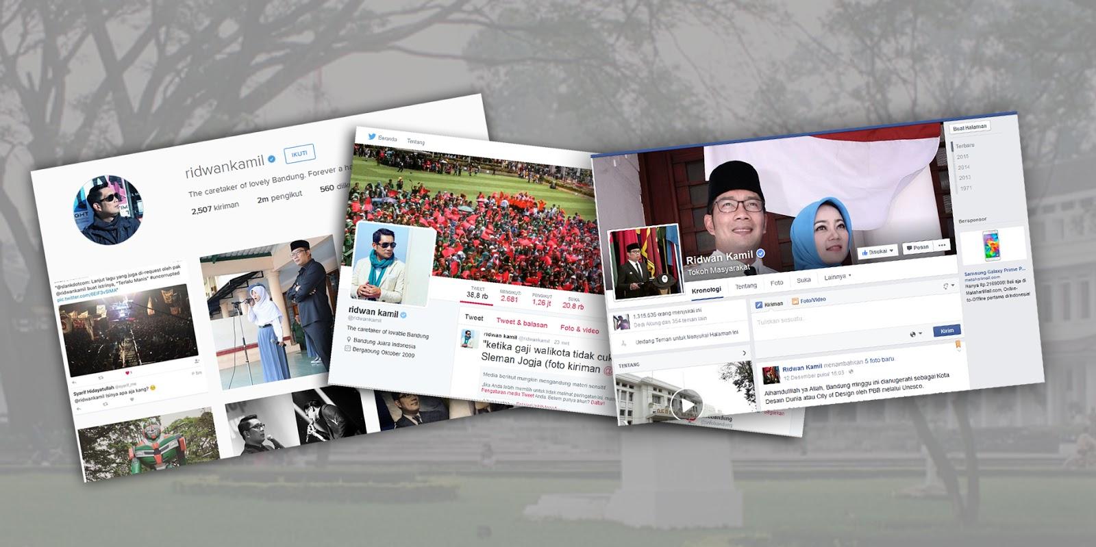 Akun media sosial Wali Kota Bandung Ridwan Kamil