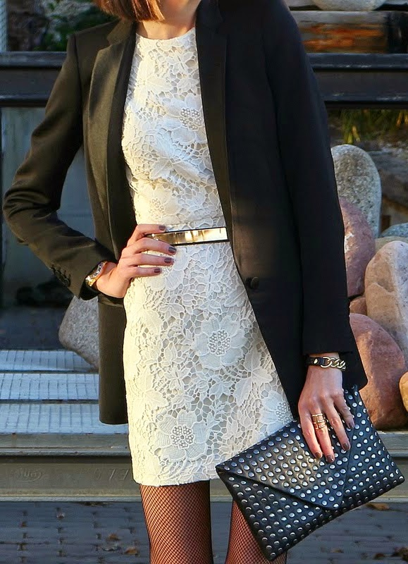 Black Blazer with White Lace dress  and Leather Studded Clutch | Spring Outfits