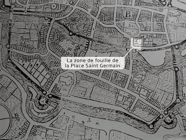 La situation de la Place Saint-Germain au XVIIe - Extrait du plan de la Ville de Rennes dressé par Hévin en 1685