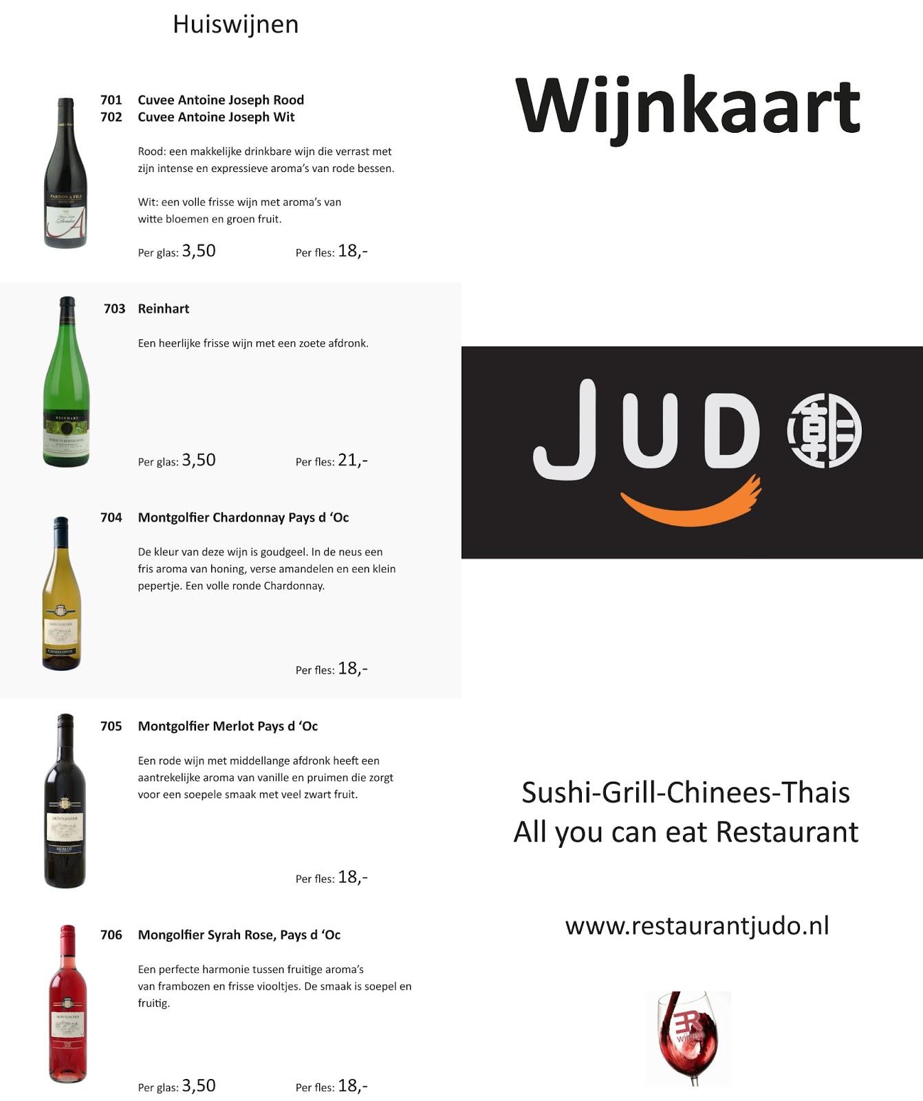 Menukaart Wijnkaart Restaurant Judo