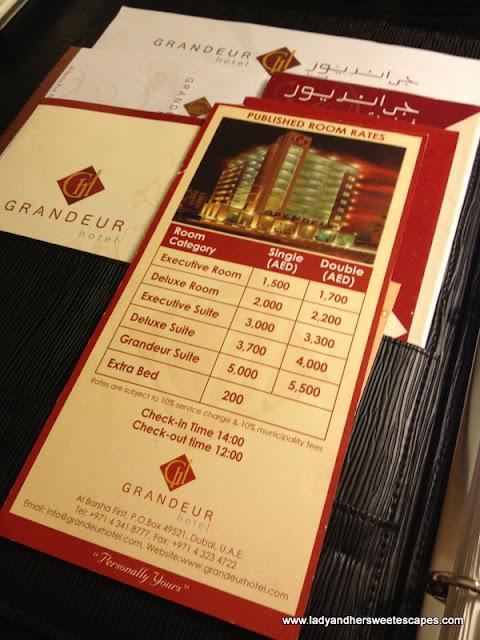 Pricelist Grandeur Hotel Dubai