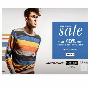 Snapdeal: Buy Men's Top Brnads Clothing upto 60% off + 40% off on Rs. 999 + 5% off