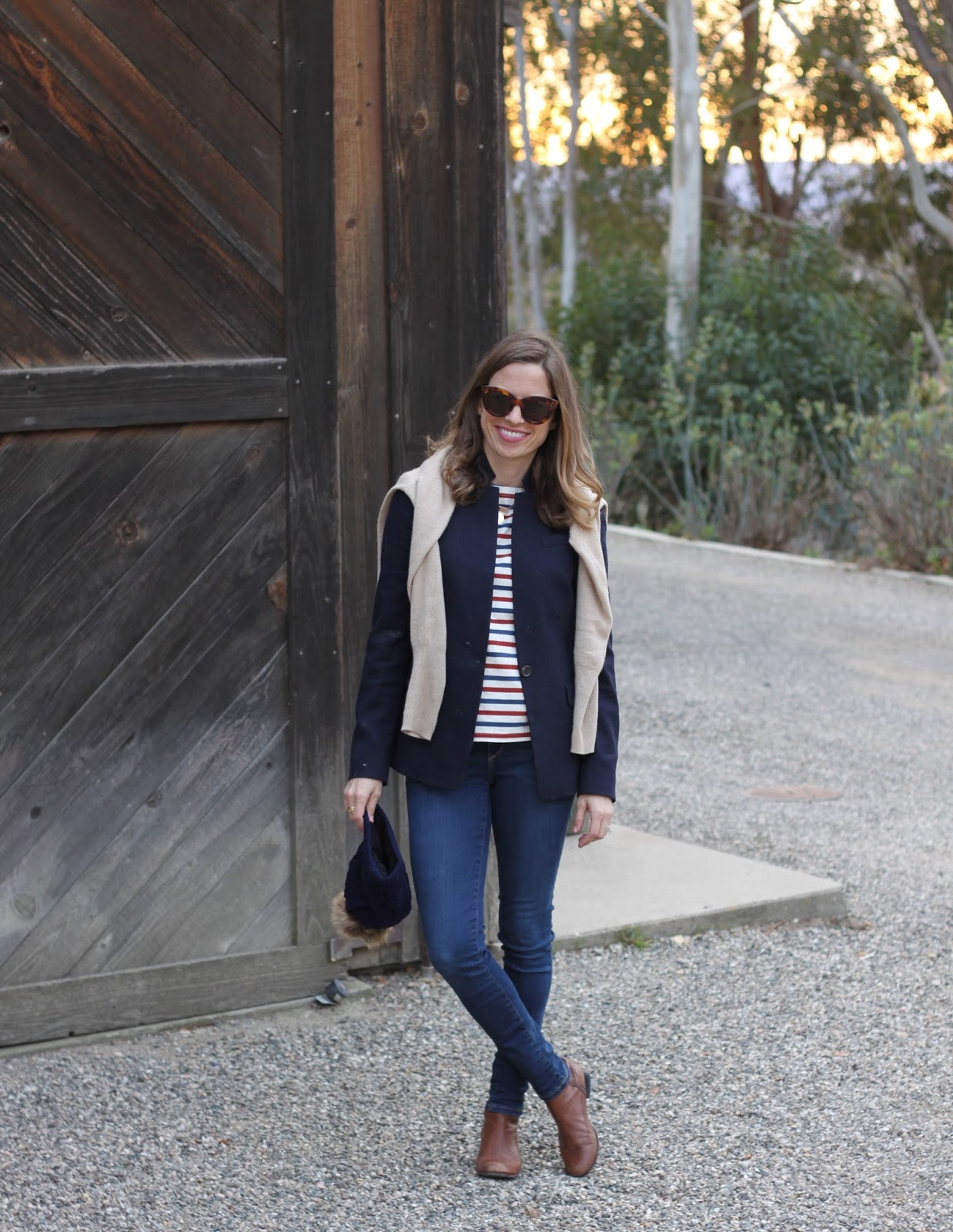 navy blazer and striped tee