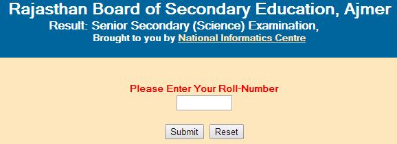 Rajasthan Senior Secondary/12th (Science) 2015 Result