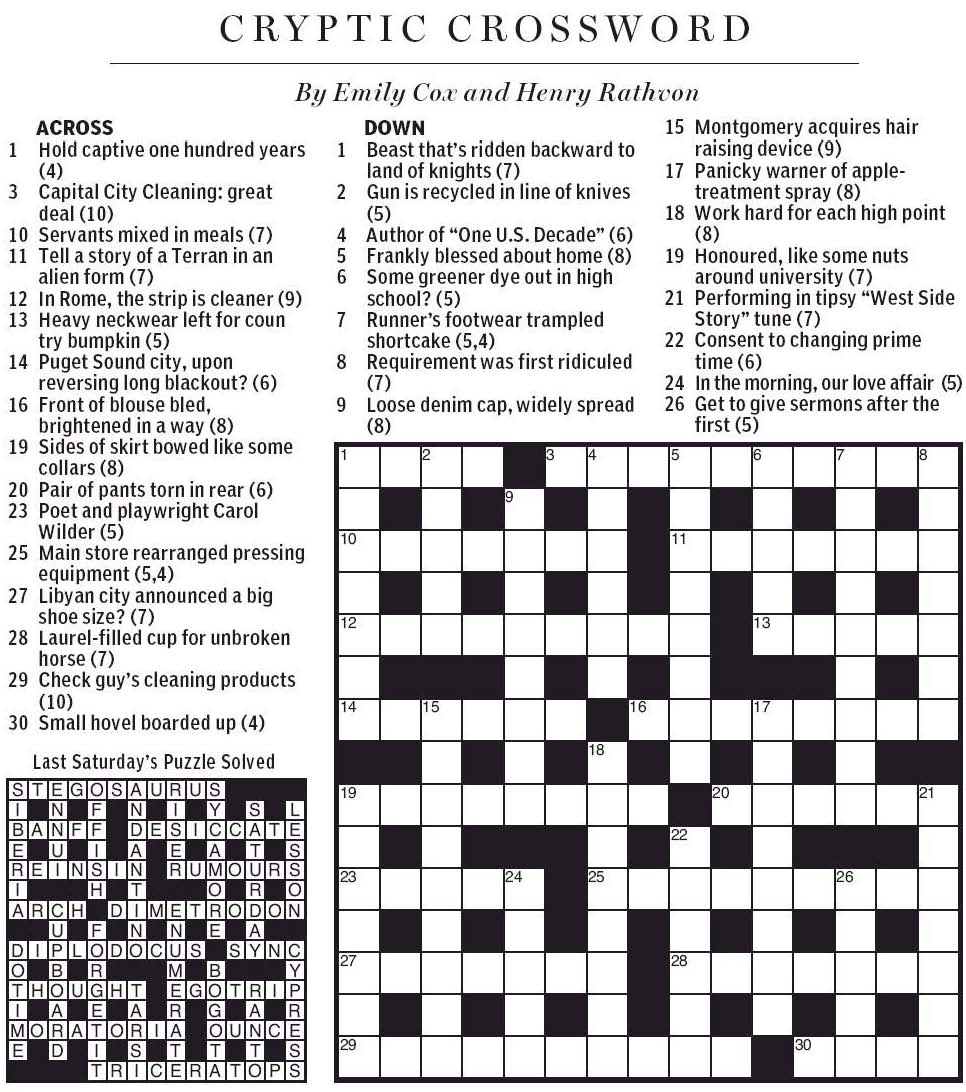 Cryptic Crossword Capital Letters