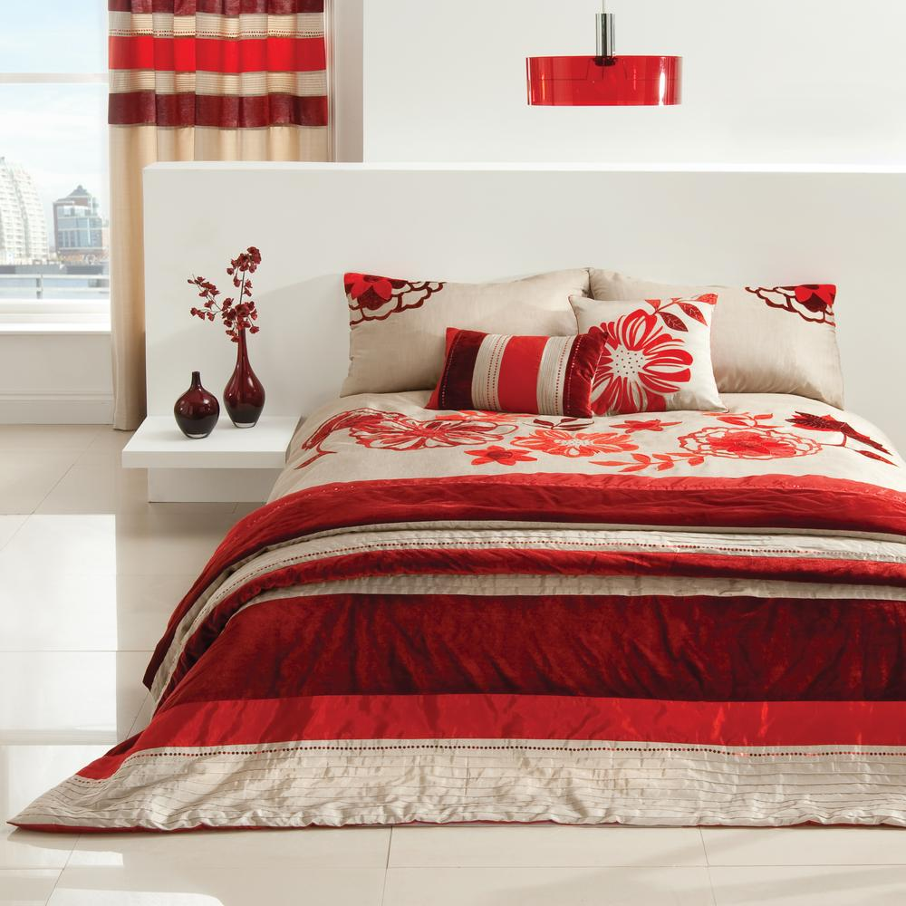 New home design ideas theme design romantic red for Red bedroom furniture