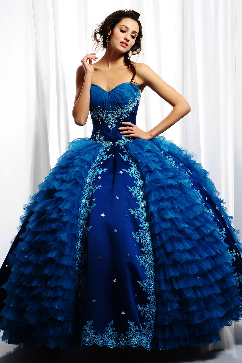 Blue quinceanera angel dress wedding gowns