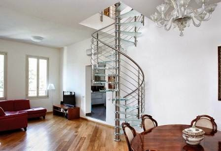 glass staircase, spiral stairs