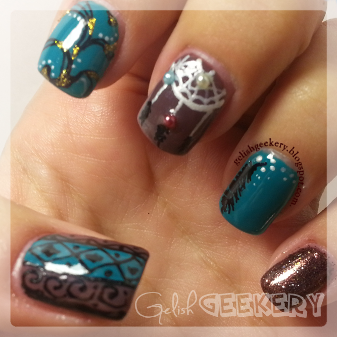 Gelish Tribal Dreamcatcher Mani with Migi Nail Art Pens