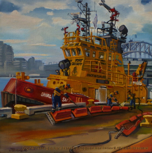 Marine Art - plein air oil painting of the Sydney Ports Emergency Response tug Shirley Smith from Moore's Wharf Walsh Bay Wharves by maritime heritage artist Jane Bennett
