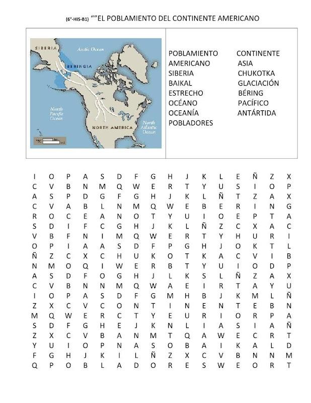 Sopa de letras del poblamiento de América