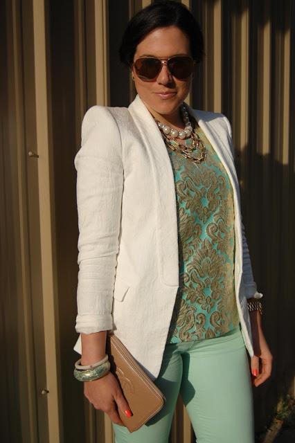 J.Crew gilded jacquard top, Zara blazer, Mint Forever 21 jeans, Expressions pumps, Prada saffiano lux tote.