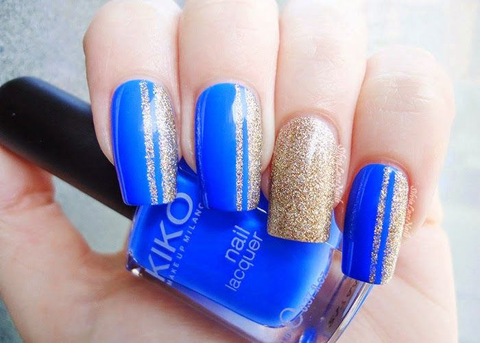 Silvia Lace Nails: Blue and gold glitter nail art