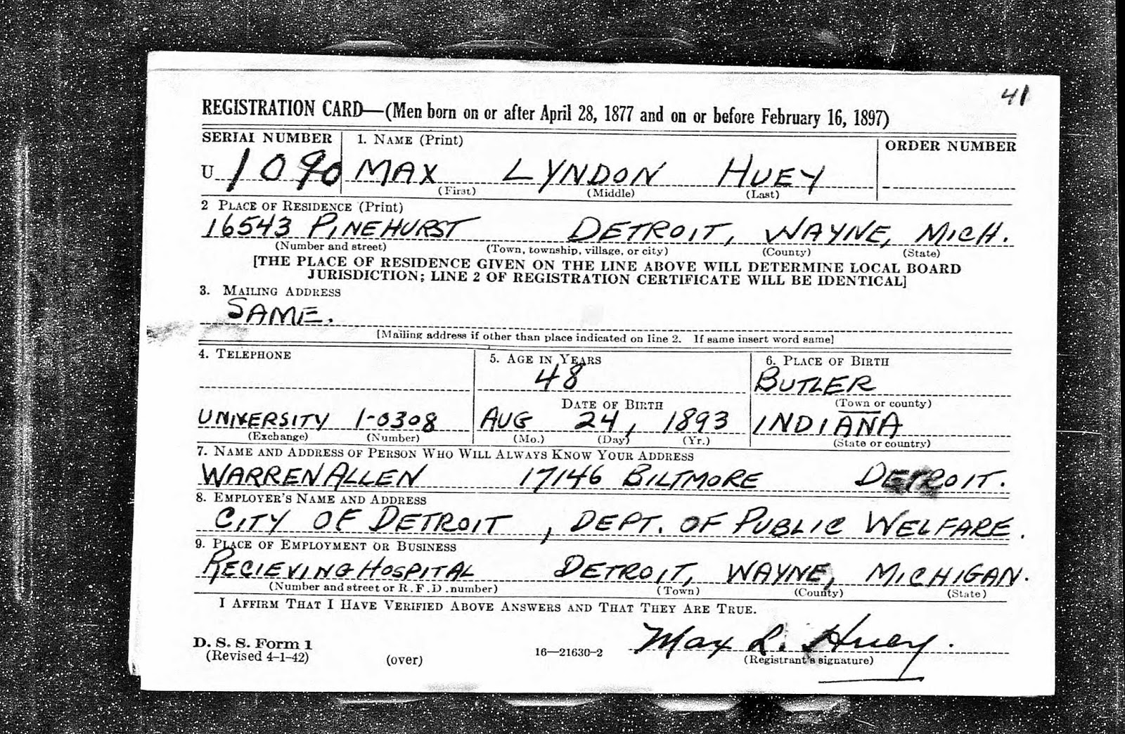 Shaky leaves harvey a huey 1866 1947 tjl genes preserving his full name was max lyndon huey and he worked for the city of detroit in the department of public welfare which matches the 1940 census record aiddatafo Choice Image