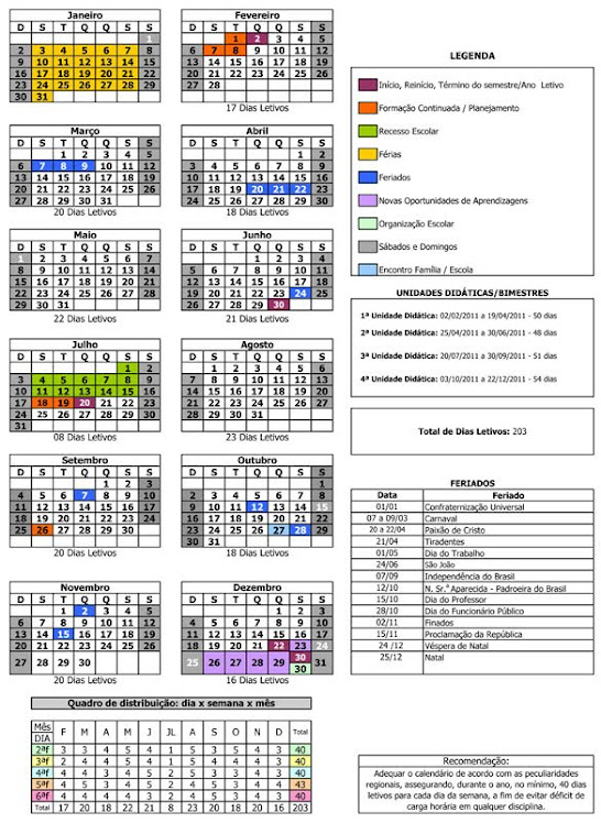 Calendário Letivo 2011