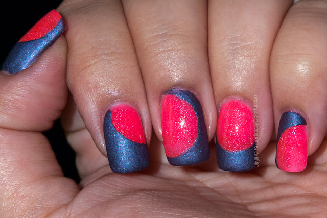 The Nail Junkie Jelly Shimmer Strawberry  Dandy Nails Cashmere Night Tape Manicure
