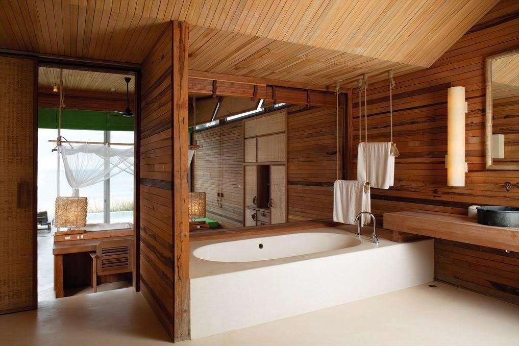 Tinas De Baño Viejas:Baños con paredes de madera – Colores en Casa