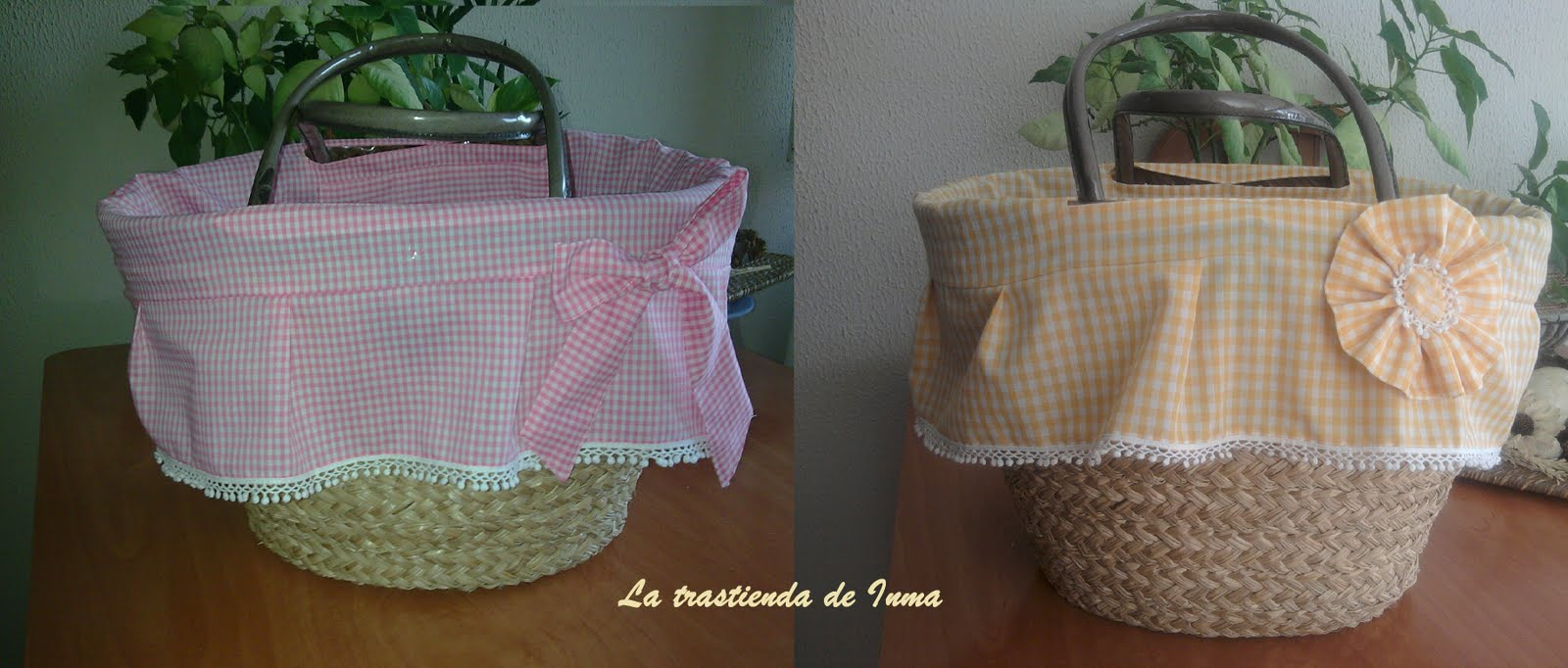 La trastienda de inma cesto de mimbre para la playa - Como forrar una cesta de mimbre ...