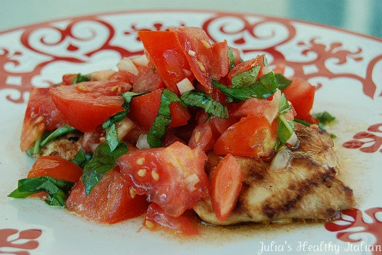 Julia's Healthy Italian Cooking: Grilled Chicken Bruschetta