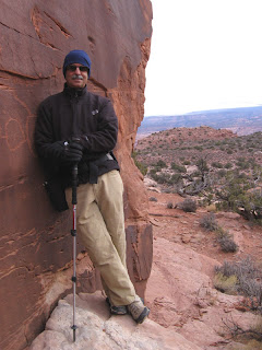 John Sasso at the Hidden Valley petroglyphs
